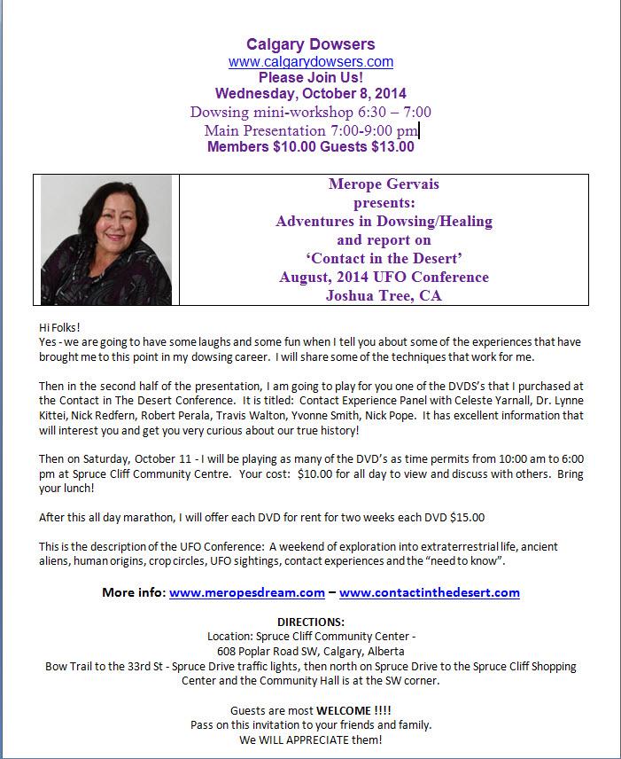 Calgary Dowsers Oct 2014 Merope Gervais Presentation